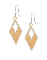 Lord And Taylor Diamond Shaped Drop Earrings Gold