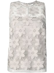 D.Exterior Sheer Floral Embroidered Top Neutrals