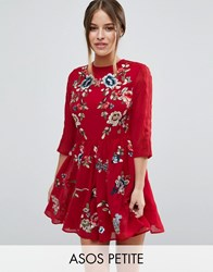 Asos Petite Premium Mini Skater Dress With Floral Embroidery Red