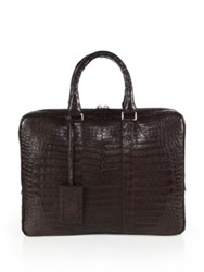 Santiago Gonzalez Crocodile Slim Briefcase Dark Brown Grey Black