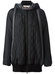 Isola Marras Panelled Quilted Hoodie Coat Black