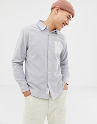 Native Youth Letter Embroidered Shirt Grey