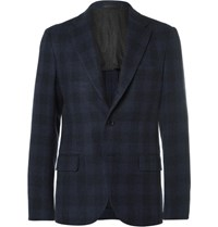 Massimo Piombo Mp Blue Slim Fit Checked Wool Blazer Navy