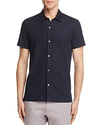 Theory Aden Pique Knit Slim Fit Button Down Shirt Eclipse