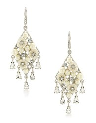 Carolee 21 Club 4Mm 3Mm Mother Of Pearl And Faux Pearl Chandelier Pierced Earrings White