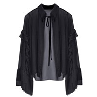 Florence Bridge Caia Ruffle Shirt Black