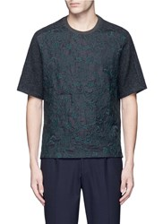 Wooyoungmi Floral Embroidery Wool T Shirt Grey