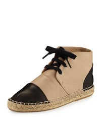 Charles David Harlow Leather Espadrille High Top Sneaker Nude Black