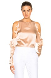 Cushnie Et Ochs Cut Out Shoulder Top In Neutrals