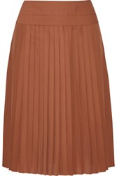 Derek Lam Pleated Silk Skirt Brown
