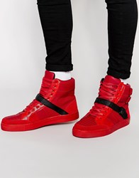 Criminal Damage Tower High Top Trainers Red