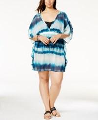 Miken Plus Size Tie Dyed Poncho Cover Up Women's Swimsuit Navy White