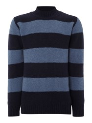 Soulland Mansour Striped Crew Neck Knitted Jumper Navy