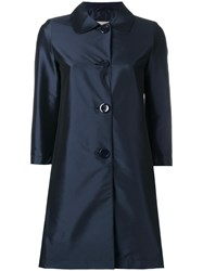 Herno Three Quarters Midi Coat Blue