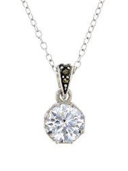 Lord And Taylor Marcasite Sterling Silver Bail Pendant Necklace