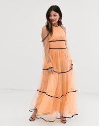 True Decadence Premium Off Shoulder Maxi Dress With Contrast Trim In Apricot Pink