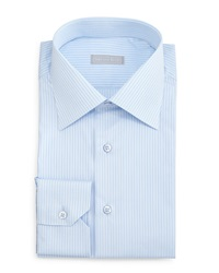 Stefano Ricci Striped Woven Dress Shirt Light Blue