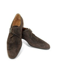 Moreschi Kobe Dark Brown Suede Monk Strap Shoes