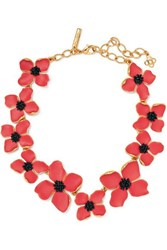 Oscar De La Renta Gold Tone Beaded Necklace Red