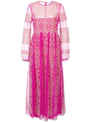 Red Valentino Lace Detail Long Tulle Dress Pink And Purple