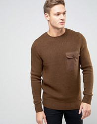 New Look Jumper With Military Pocket In Brown Khaki Green