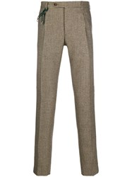 Berwich Cord Detail Checked Trousers Red