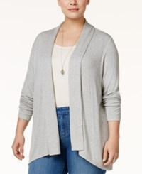 Styleandco. Style Co. Plus Size Draped Open Front Cardigan Only At Macy's Light Grey Heather
