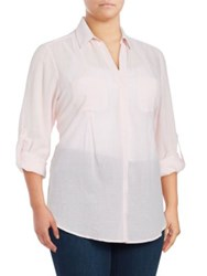 Lord And Taylor Plus Nancy Solid Cotton Shirt Red