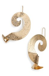 Natasha Couture Swirl Metal Earrings Gold