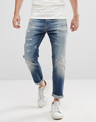 Selected Homme Jeans In Tapered Fit With Rip Repair Italian Denim Blue 6108