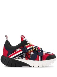 Thom Browne Tb Tartan Raised Running Shoes Blue