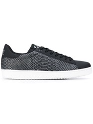 Emporio Armani Ea7 Snakeskin Print Sneakers Men Leather Polyester Rubber 43 Black