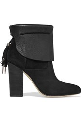 Sigerson Morrison Ferg Textured Leather And Suede Boots Black