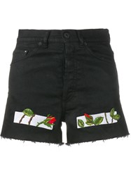 Off White Rose Embroidered Denim Shorts Black
