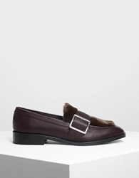 Charles And Keith Buckled Furry Detail Loafers Purple