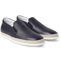 Tod's Raffia Trimmed Full Grain Leather Slip On Sneakers Midnight Blue