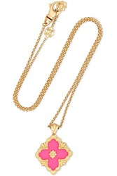 Buccellati 18 Karat Yellow Gold And Enamel Necklace One Size