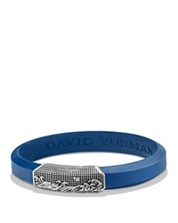 David Yurman Waves Blue Rubber Id Bracelet In Sterling Silver Blue Silver