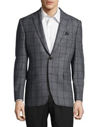 Black Brown Slim Fit Windowpane Check Blazer Grey