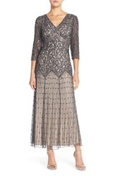 Petite Women's Pisarro Nights Beaded Mesh Drop Waist Dress Slate Nude