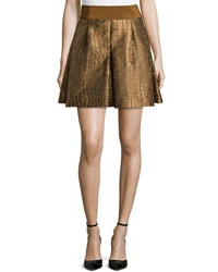 Philosophy Di Alberta Ferretti Lizard Jacquard Pleated Skirt Copper