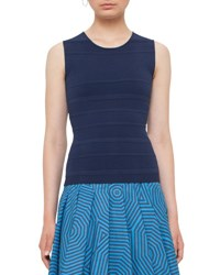Akris Punto Sleeveless Fantasy Knit Top Navy