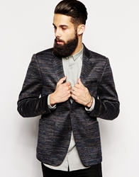 Vito Jersey Ombre Stripe Blazer In Slim Fit Navy