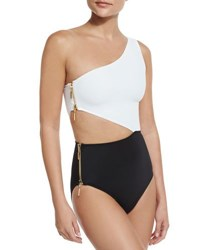 Oye Swimwear Kim Zipper Detail Colorblock One Piece Swimsuit White Top