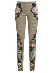 Mary Katrantzou Labyrinth Cowboy Applique Skinny Leg Trousers Beige Multi