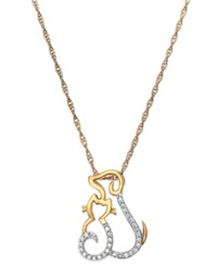 Macy's Diamond Cat And Dog Pendant Necklace In 10K Gold 1 10 Ct. T.W.