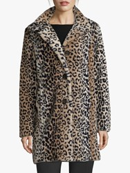 Betty Barclay Faux Fur Animal Print Coat Camel Black