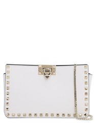 Valentino Rockstud Smooth Leather Clutch White