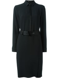 Versace Belted Shirt Dress Black