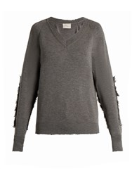 Hillier Bartley Distressed Edge Wool Sweater Grey